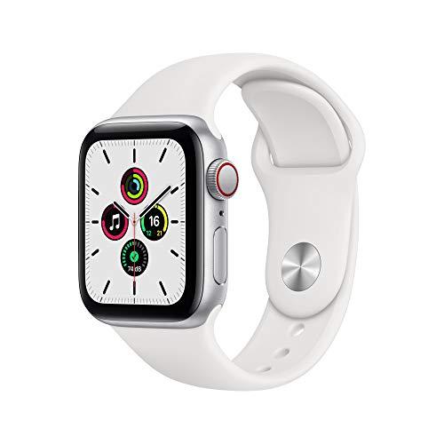 AppleWatch SE (GPS+ Cellular, 40mm) Aluminiumgehäuse Silber, Sportarmband Weiß