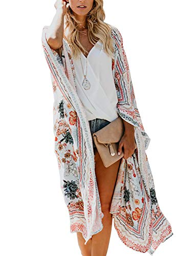 Women's Floral Chiffon Kimono Cardigan Long Flowy Beach Cover-Ups Bikini Swimsuit Open Front Tops (Multicolored, Small)