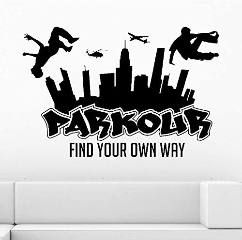 Parkour City Silhouette Wandtattoo Boy Free Run Jump City Style Skateboard Graffiti Kunst Wandaufkleber Finden Sie Ihren Weg113X75Cm