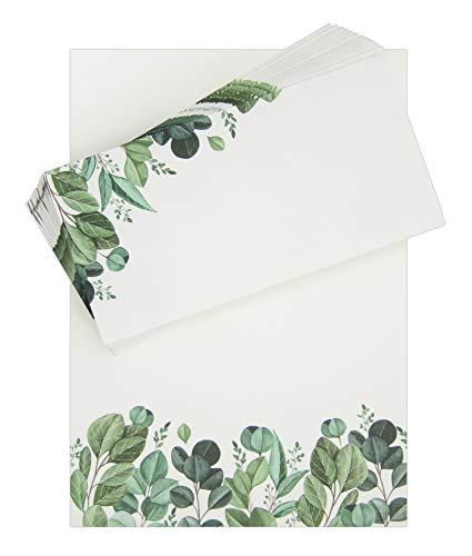 Briefpapier mit Umschlag: Blätter • DIN A4, Creme • 50 Blatt, 20 Kuverts/Umschläge • Natur, Pflanzen, Aquarell • Motivpapier, Designpapier, Schreibpapier, Block, Schreibblock, Notizblock, Briefblock