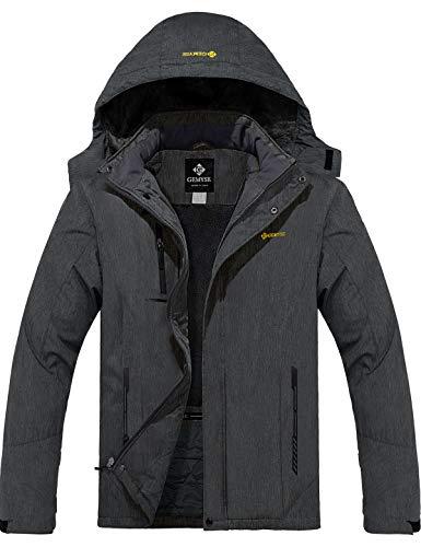 GEMYSE Men's Mountain Waterproof Ski Snow Jacket Winter Windproof Rain Jacket (Graphite Grey, M)