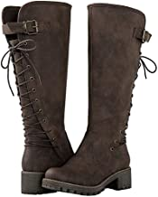 GLOBALWIN Women's 19YY29 Brown Lace Up Back Knee High Fashion Boots 11M