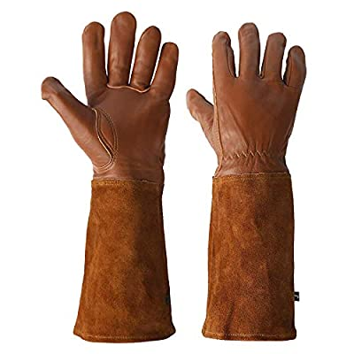 KIM YUAN Rose Pruning Gloves for Men and Women. Thorn Proof Goatskin Leather Gardening Gloves with Long Sheepskin Gauntlet to Protect Your Arms Until The Elbow (Brown-L)