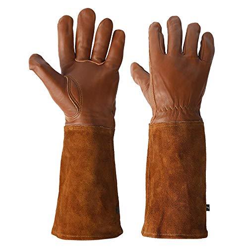 KIM YUAN Trädgårdshandsk- Acdyion ros beskärning tagg & klippsäker långt underarmsskydd handske hållbart kohud läder arbete trädgårdshandskar lämpliga för beskärning av kaktusros och torniga buskar (ROWN)