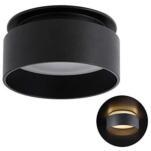 SSC-LUXon LED Deckenstrahler Sudara mit indirektem Licht inkl. LED 5W warmweiß 230V - Einbau Design Spot Leuchte schwarz rund