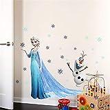 TMEET Cartoon ELSAAnna Prinzessin Wandaufkleber, Mädchenzimmer Dekoration DIY Anime Wandbild Kunst Gefrorenmovie Poster Kinder Wandtattoo, Zypa1433