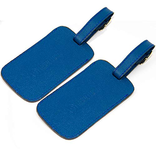 Logical Leather Luggage Tag Genuine Leather Travel ID Tags with Adjustable Leather Strap, Address Card and Privacy Cover, Blue, Set of 2