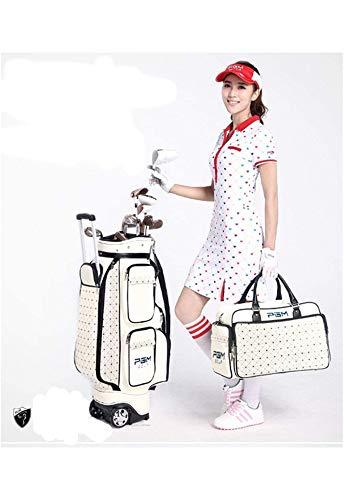 POSMA PGM-QB036YB016 Kofull Damen Golftasche mit Rollen und Handtasche für Golfschläger und Golfballhalter