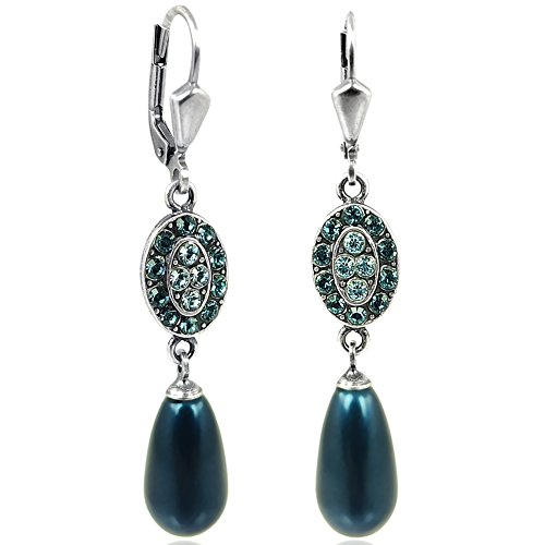 Jugendstil Perlen-Ohrringe Kristalle von Swarovski® Silber Blau Petrol NOBEL SCHMUCK