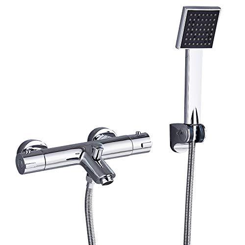 Suguword Duschthermostat Mischbatterie Armatur mit Thermostat für Temperatureinstellung mit 38 °C Sicherheitstaste Duschsystem mit Handbrause und wannenauslauf für Bad/Badewanne Chrom