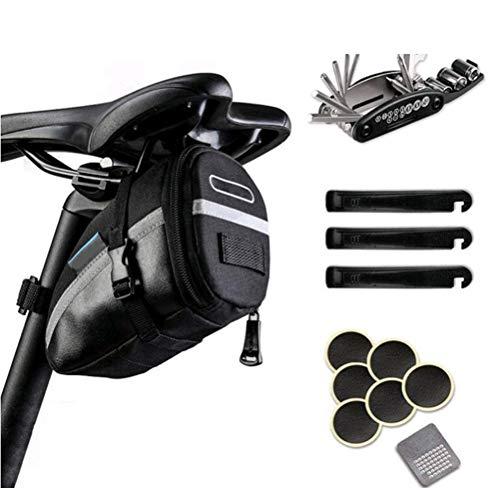 Twakom Kit de herramientas de reparación de bicicletas, 16 en 1, multifuncional, kit de herramientas de reparación de pedalier de bicicleta, herramienta de extracción de pedalier y palancas de neumáticos, color negro