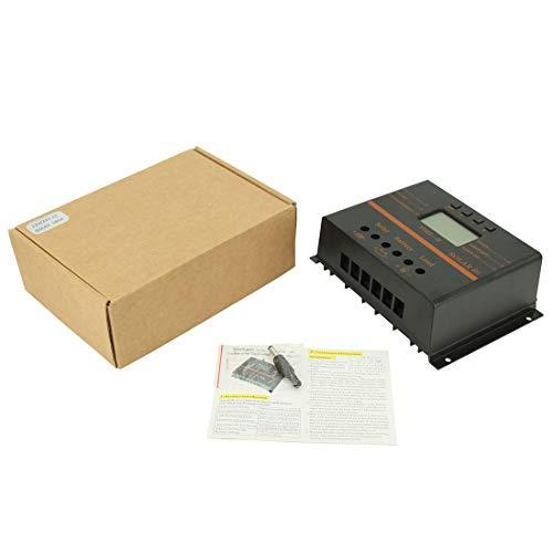 ❅60A Laderegler Solarpanel Laderegler 12V 24V Einstellbarer Parameter LCD Display Solarregler mit 5V Dual USB - Schwarz ❅