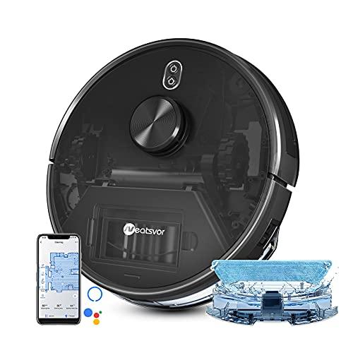 Robot Aspirapolvere lavapavimenti, navigazione laser,con serbatoio dell'acqua elettrico; 4000pa. Aspira, spazza,strofina , per pavimenti duri e animali domestici, app, Alexa Google Home