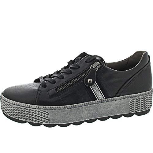Gabor Damen Sneaker, Frauen Low-Top Sneaker,Comfort-Mehrweite,Reißverschluss,Optifit- Wechselfußbett, straßenschuhe Low-top,schwarz,40.5 EU / 7 UK