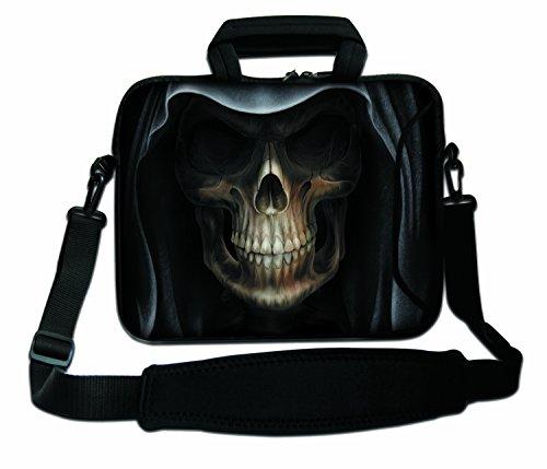 Luxburg® 17,3 Zoll Schultertasche Notebooktasche Laptoptasche Tasche mit Tragegurt aus Neopren für Laptop/Notebook Computer - Gesicht des Todes