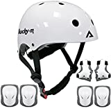 Kids Protective Gear Set Boys Girls Adjustable Size Helmet with Knee Pads, Elbow Pads, Wrist Guards for Skateboard, Cycling, Hoverboard, Scooter (White)