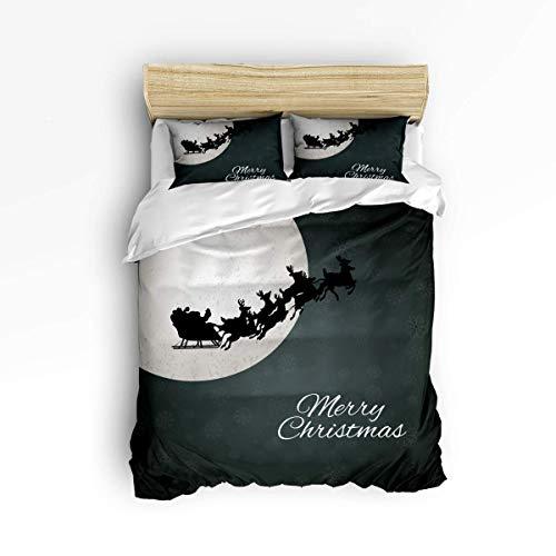 Juego de funda nórdica de 3 piezas, ropa de cama cómoda, liviana y duradera con lazos de cremallera, Papá Noel con renos en trineo volando, noche mágica y estrellada con patrón de luna, fácil cuidado,