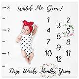 XMyth Baby Monatliche Meilenstein Decke, Neugeborene Foto Hintergrund Requisiten, Super Soft Baby Swaddling Decke für Fotografie-Weiß