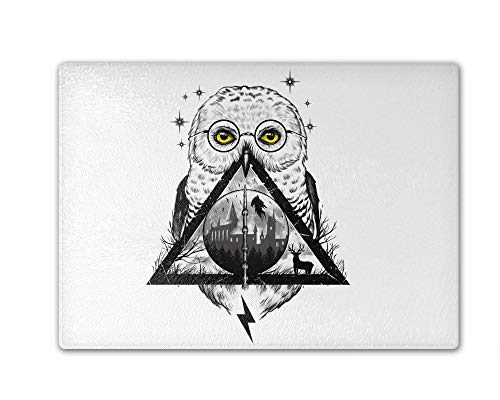Owls And Wizardry Cutting Board Tempered Glass 11.25 x 15.5