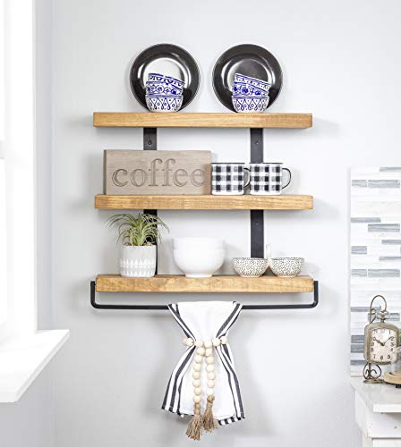 Del Hutson Designs Industrial 3-Tier Floating Shelf with Towel Bar (24 Inch, Walnut)