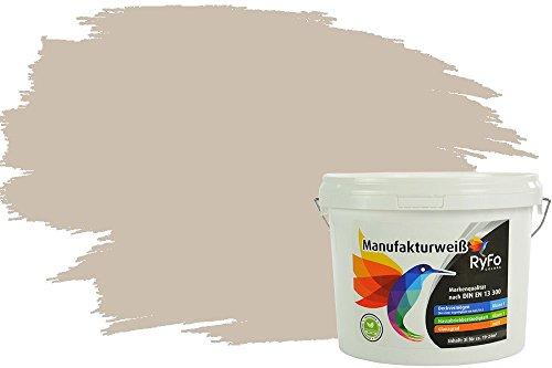 RyFo Colors Bunte Wandfarbe Manufakturweiß Sandbeige 3l - weitere Braun Farbtöne und Größen erhältlich, Deckkraft Klasse 1, Nassabrieb Klasse 1