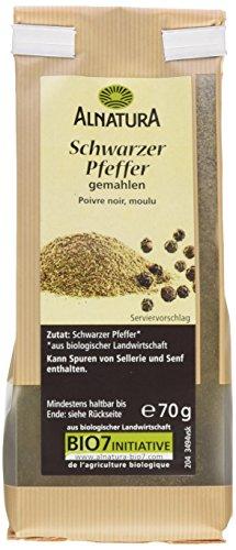 Alnatura Bio Schwarzer Pfeffer, gemahlen, vegan, 7er Pack (7 x 70 g)
