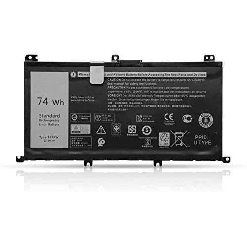K KYUER 74Wh 357F9 Batería para DELL Inspiron 15 7000 7566 7567 7557 7559 5576 5577 INS15PD-1548B 1548R 1748B 1748R 2548R 2548B 2748R 0GFJ6 71JF4 Gaming Notebook Primary Laptop Battery Replacement