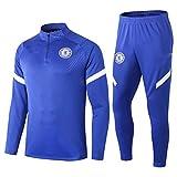 Znesd Sport Fußballanzug Langarm Club Jersey Wettbewerb Anzug, 2021 Chelsea Football Training, Trainingsanzüge Langarm Sweatshirt Set (Size : XXL)
