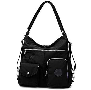 Multipurpose Hobo Purse for Women with Antitheft RFID Waterproof Nylon Crossbody Bag Shoulder Handbag Convertible Backpack