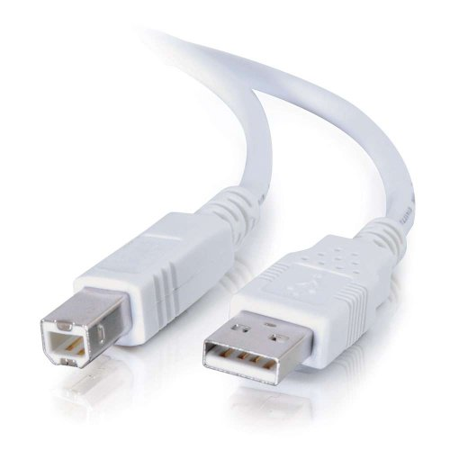 C2G 13172 USB Cable - USB 2.0 A Male to B Male Cable for Printers, Scanners, Brother, Canon, Dell, Epson, HP and more, White (6.6 Feet, 2 Meters)