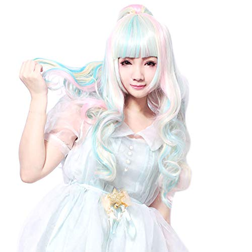 Iusun Wigs,68CM Women's Full Front Long Wave Beautiful Colorful Heat Resistant Synthetic Wigs Long Curly Full Hair Cosplay Costume Wigs Daily Party Anime Hair Wig High Temperature Fiber (B)