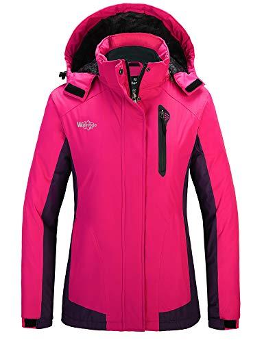 Wantdo Women's Waterproof Ski Jacket Fleeced Winter Warm Windbreaker Rose Red Dark Purple XL