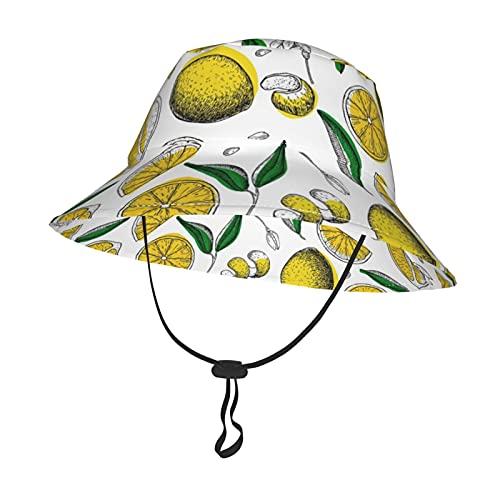 GAHAHA Sombrero de bebé unisex para niñas, niños, limones y flores, sombrero de cubo con correa ajustable para la barbilla, gorra de playa para viajes al aire libre, Negro, Medium