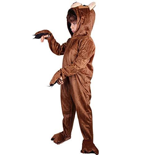 JJAIR Unisex Kinder Pyjamas, Tier Cosplay Plüsch-One Piece Cosplay Eichhörnchen Tierkostüm Halloween, L