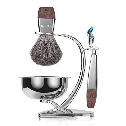 Juego de afeitar GRUTTI, maquinilla de afeitar de cromo de lujo y soporte para brocha con tazón de jabón y brocha de afeitar de pelo de tejón Navaja de seguridad compatible con Fusion 5