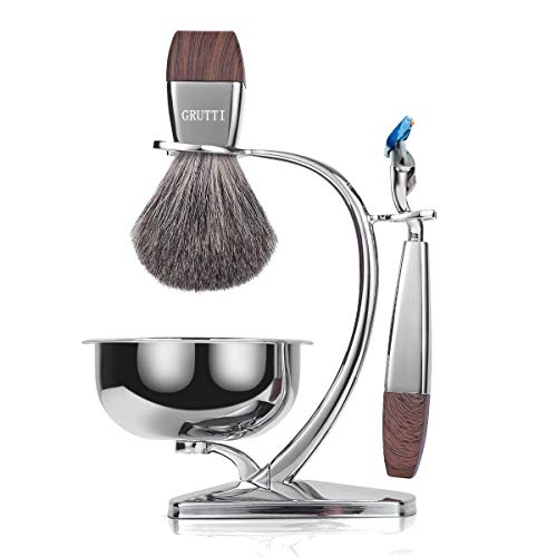 Set da barba GRUTTI, rasoio cromato di lusso e portaspazzolino con portasapone e rasoio Pennello da barba in rasoio di sicurezza compatibile con Fusion 5