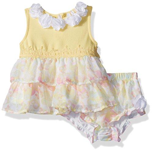 Little Lass Baby Girls' 2 Pc Butterfly Diaper Set, Yellow, 3M