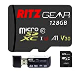 RG Extreme Performance Micro sd Card 128GB MicroSDXC Memory Card, Class10 V30 A1 U3 UHS1 (95/80 R/W) Compatible W Nintendo Switch, Gaming Console, Action Camera, Security Camera + 4-in-1 Reader