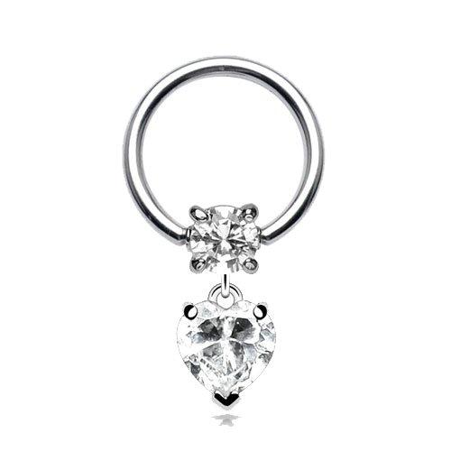 Helix piercing ring met hanger hartje wit