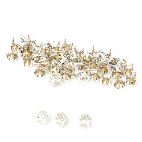 50 Set Silber/Gold Basis DIY Fashion Strass Klaue Perlen Nailhead Studs Punk Diamond Spikes Nieten für DIY Leder-Handwerk(6mm Silber)