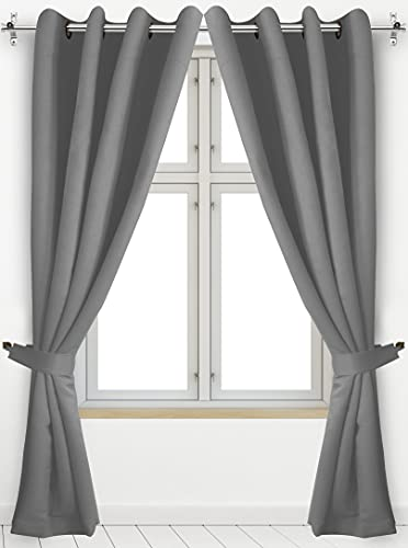 Utopia Bedding 2 Panels Grommet Blackout Curtains with 2 Tie Backs, Thermal Insulated for Bedroom, W52 x L84 Inches, Grey