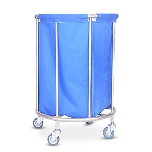 LHQ-HQ Sombrilla Blue Hotel Lino Carro con Ruedas de laminación, Durable Ronda de lavandería Clasificador de balanceo Carro de vestíbulo con Cubierta removible Carretilla
