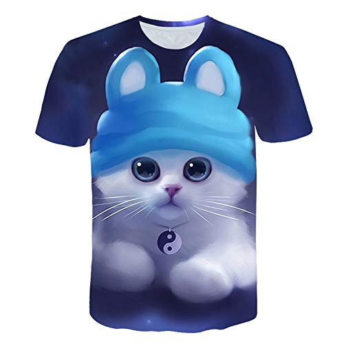HOSD Night Cat Lady – Camiseta de mujer de manga corta Top 3D Tees Top – Camiseta para mujer Tx041 L