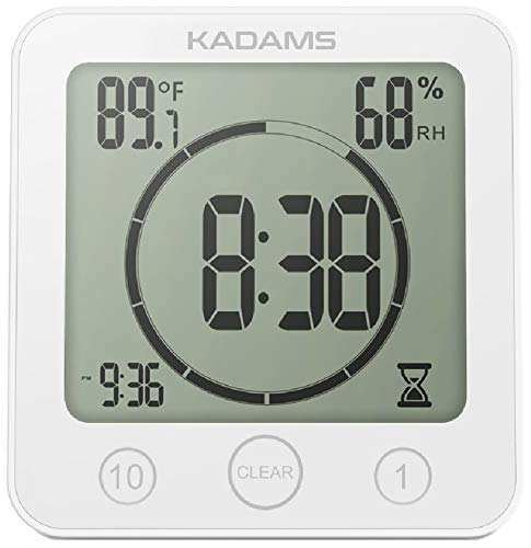 KADAMS Digital Bathroom Shower Kitchen Clock Timer with Alarm, Waterproof for Water Splashes, Visual Countdown Timer, Time Management Tool, Indoor Temperature Humidity, Suction Cup, Hole Stand (WHITE)