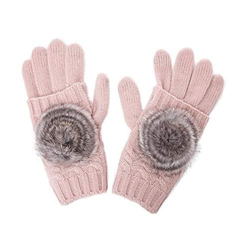 HND Guantes de invierno femenina versión coreana de los guantes de la marea caliente guantes de lana damas estudiantes de otoño e invierno de pelo de conejo medio dedo de punto de color rosa femenina