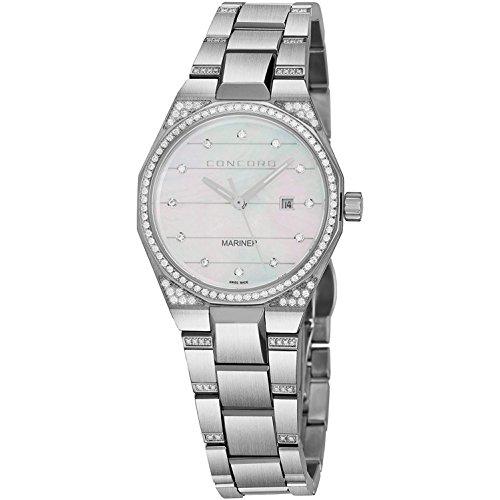 Concord Mariner 0320276 - Reloj de pulsera para mujer con diamantes de imitación de 30 mm, esfera analógica de nácar con segunda mano, fecha y cristal de zafiro, correa de metal de acero inoxidable, reloj de cuarzo suizo para mujer