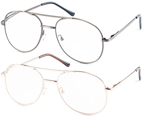 Metal Aviator Reading Glasses for Reading Gunmetal Gold IncludesMicrofiber Pouch 100 2Pack