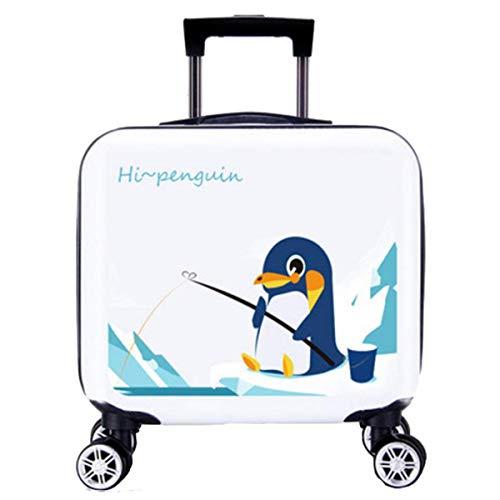 ANGELCITY 子供用 スーツケース キッズキャリー キャリーケース キャリ ーバッグ トランク 機内持ち込み 動物柄 可愛い おもちゃ箱 女の子 男の子 キッズ用 旅行かばん 誕生日プレゼント 軽量 旅行 小型 A1940 (ホワイト釣りペンギン)