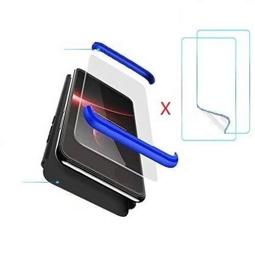 Compatible Xiaomi Redmi Note 5A Prime Funda(2018)Carcasa 360° ultra fina Protectora cojín+Vidrio Templado Pantalla Protector,3 in 1 PC Hard Caja Caso Skin Case Cover Carcasa para 5A Prime Negro Azul