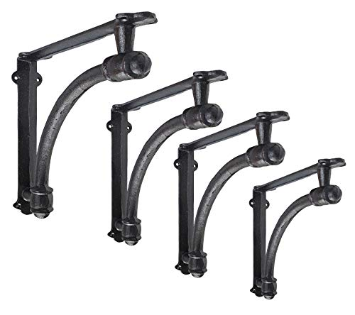 NACH js-90-064S Half Round Wall Shelf Bracket, Small, Black, 4 Pack